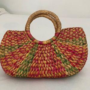 VINTAGE raffia handbag